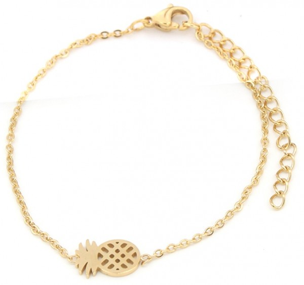 | Armband Ananas stainless steel goud