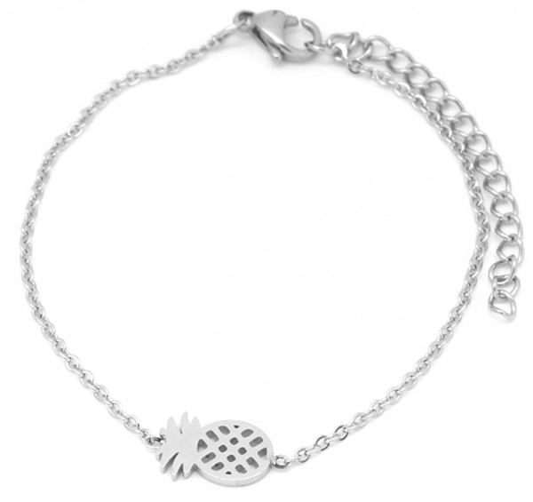 | Armband Ananas stainless steel zilver