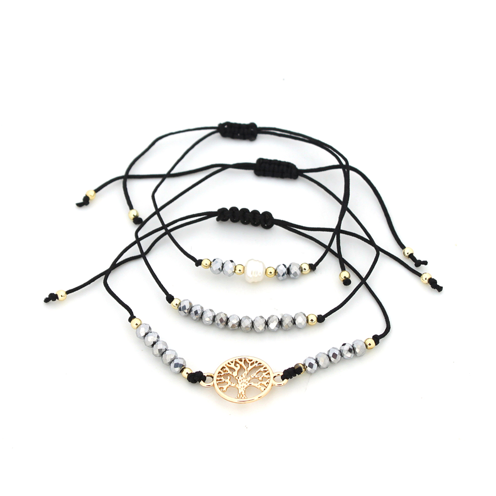 | Armband set a 3 fijn Boho Beads & Tree of Life zwart