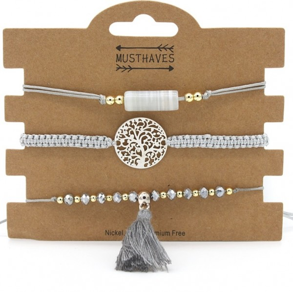 | Armband set a 3 fijn Boho Beads & Tree grijs