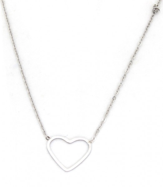 Ketting Hart stainless steel zilver