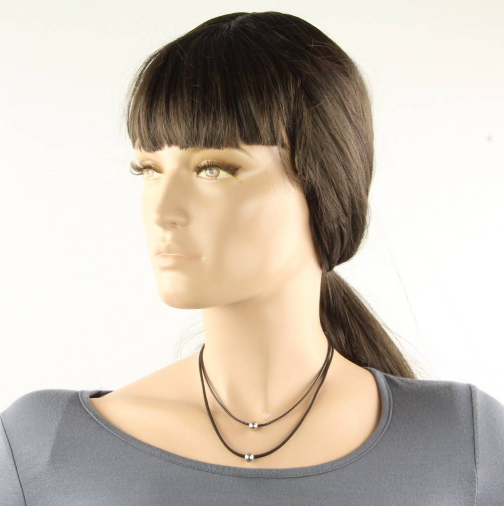 Choker double layer zwart-zilver