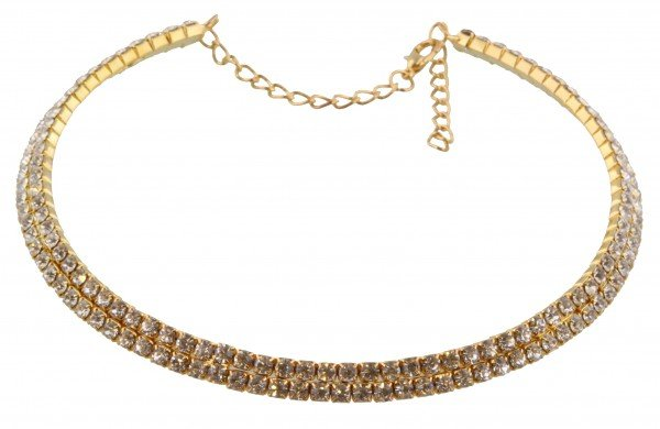 Ketting spang goud 2-laags strass
