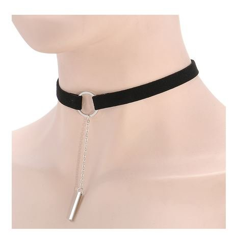 Ketting choker zilver circle and bar