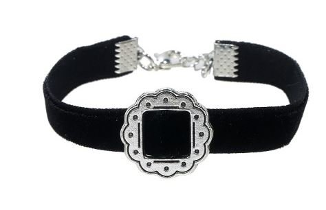 Ketting choker + armband Baroque black
