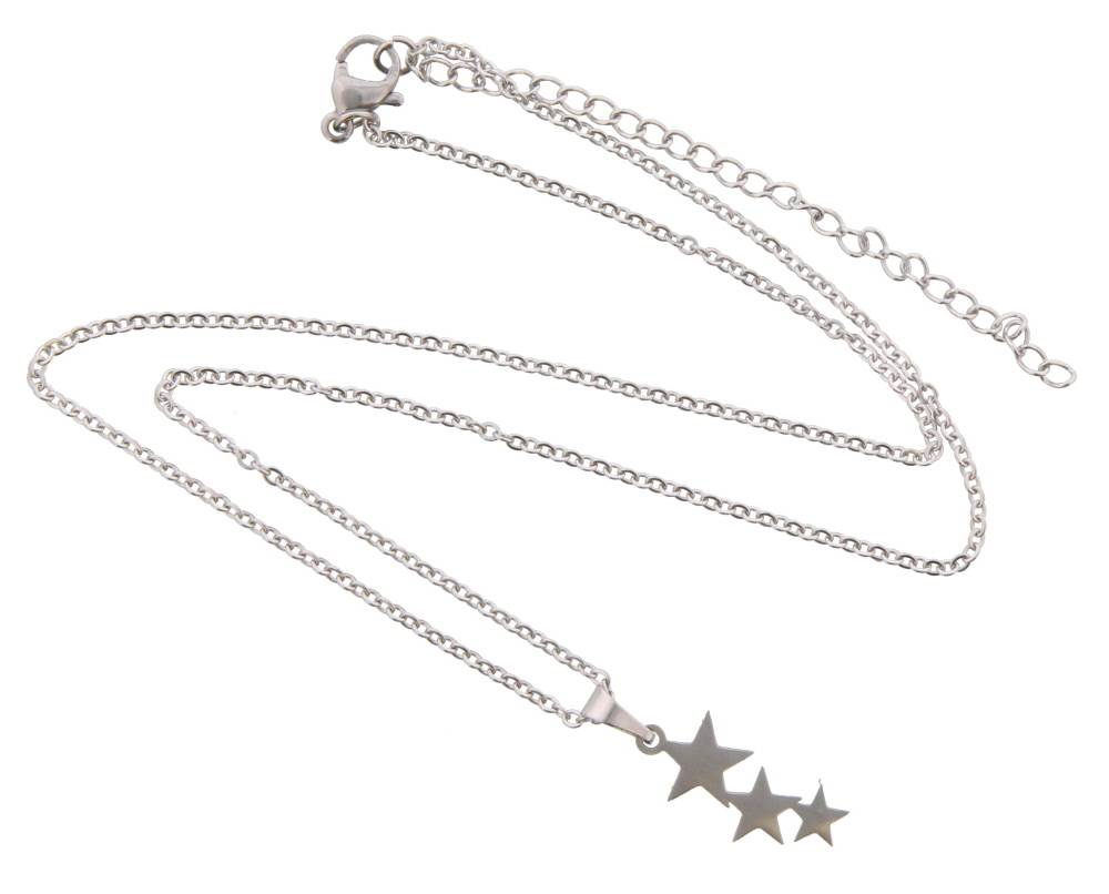 Ketting silver Stars stainless steel