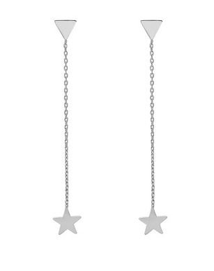Oorbellen chain Triangle & Star silver
