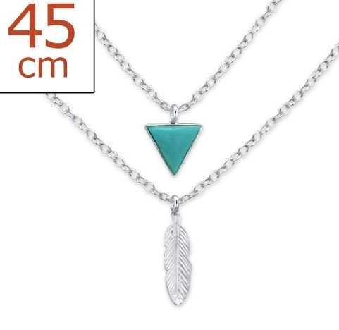 Ketting 925 zilver 2-layer Triangle-Feather