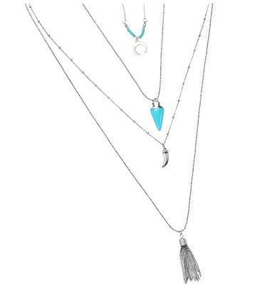 Ketting 4-layer BOHO zilver-turqoise