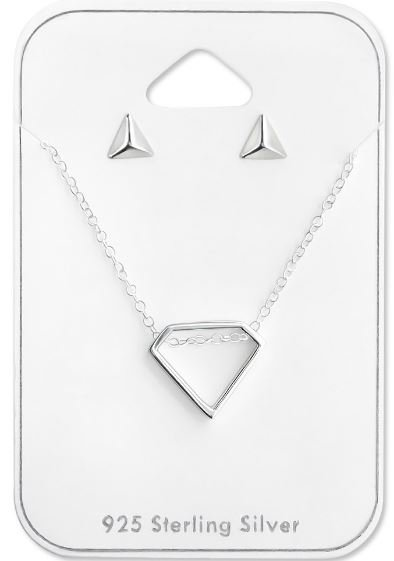 Ketting zilver 925 Diamond & Triangle studs