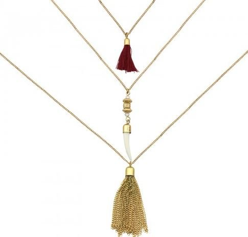 Ketting goud 3 layer Tassels & Tooth