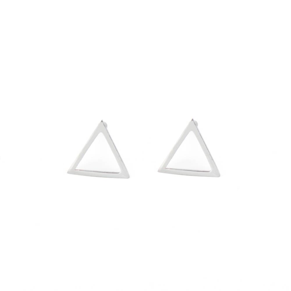 Oorbellen studs Triangle silver 9mm
