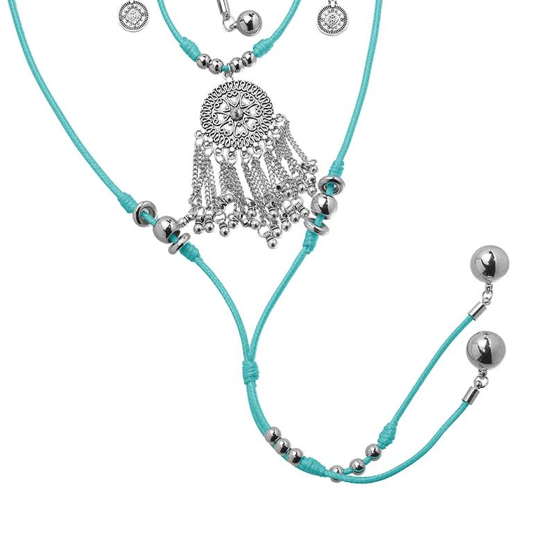 Ketting lang Boho 4-layer Explosion turquoise