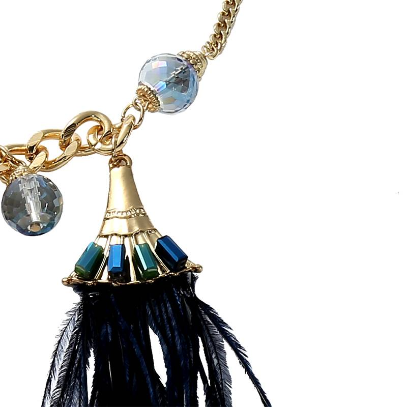 Ketting Feathers blauw-goud