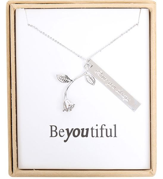 Ketting fijn Roos met Quote Love you always zilver