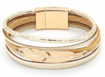 Armband Ibiza Feather beige-goud