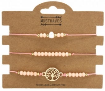 Armband set a 3 fijn Boho Beads & Tree of Life pink
