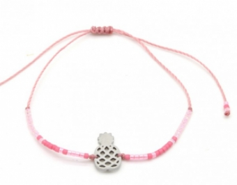 Armband fijn Beads & Pineapple pink