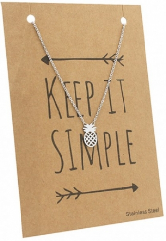Ketting Ananas stainless steel zilver