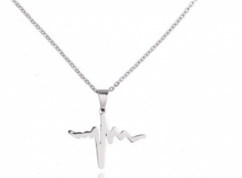 Ketting Heartbeat stainless steel zilver