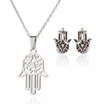 Ketting set Hamsa hand stainless steel zilver