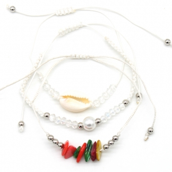 Armband fijn set a 3 Beads and Shell wit
