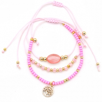 Armband set a 3 fijn Boho Beads & Tree of Life pink 2