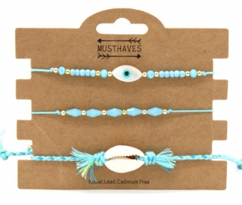 Armband set a 3 fijn Boho Beads & Shell blue