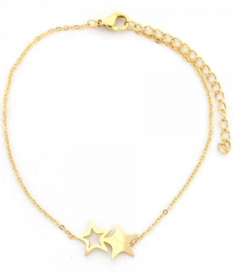 Armband Stars stainless steel goud