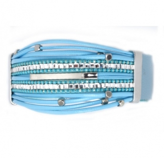 Armband Ibiza Strings strass blue-silver
