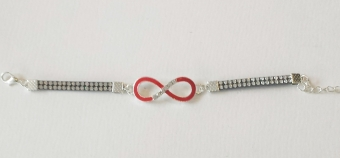 Armband Infinity strass zilver-rood