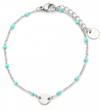 Armband fijn Coin & Beads RVS zilver-turquoise