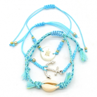 Armband set a 3 fijn Boho Anchor & Shell blue