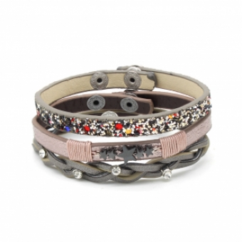 Armband set a 3 Star, strass & glitter multi