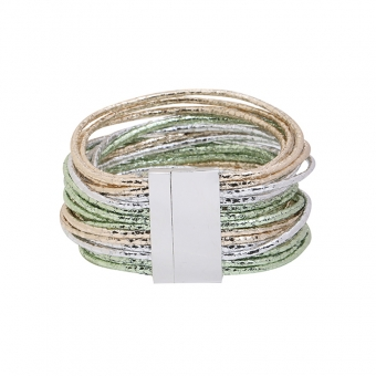 Armband Shine 26 strings groen-zilver