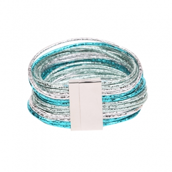 Armband Shine 26 strings turquoise-zilver
