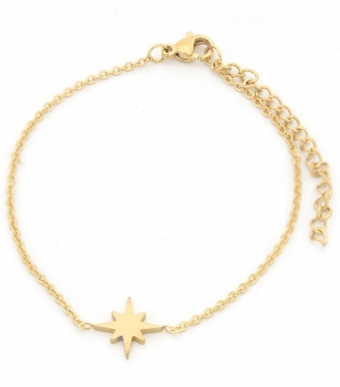Armband Star stainless steel goud