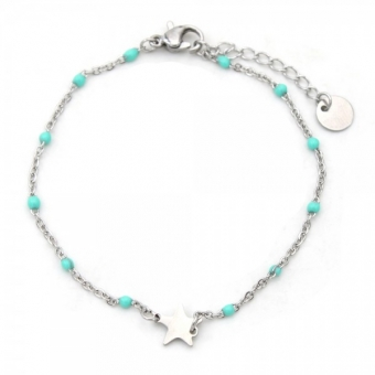 Armband Ster minimalistisch RVS zilver-turquoise
