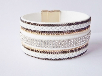 Armband Ibiza breed wit-strass