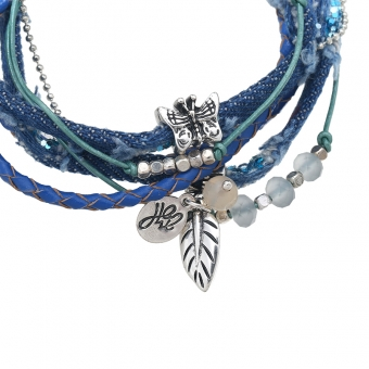 Armband wrap Beads leer jeans-blauw