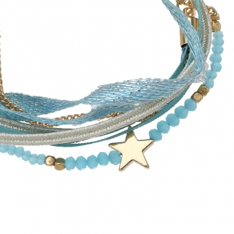 Armband wrap Beads & Star blue-goud