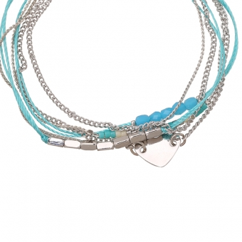 Armband wrap fijn Beads & Heart zilver-blue