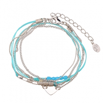 Armband wrap fijn Beads & Heart blue-zilver