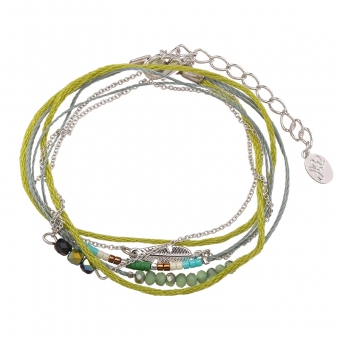 Armband wrap fijn Beads & Feather groen-zilver