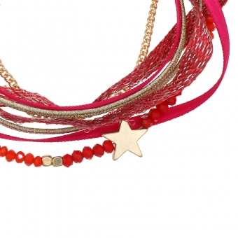 Armband wrap Beads & Star rood-goud