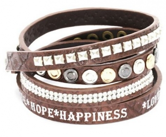 Armband wrap bruin Love-Hope-Happiness