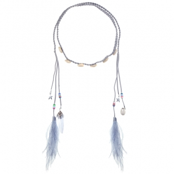 Haarband Boho Shells & Feathers grijs