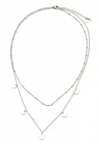 Ketting 2-laag Coins zilver-turquoise
