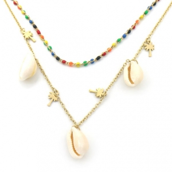 Ketting 2 laags Palmboom & schelpen RVS-multi-goud 2