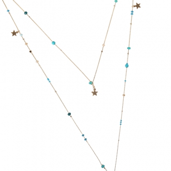 Ketting lang fijn 2 laags Stars goud-turquoise